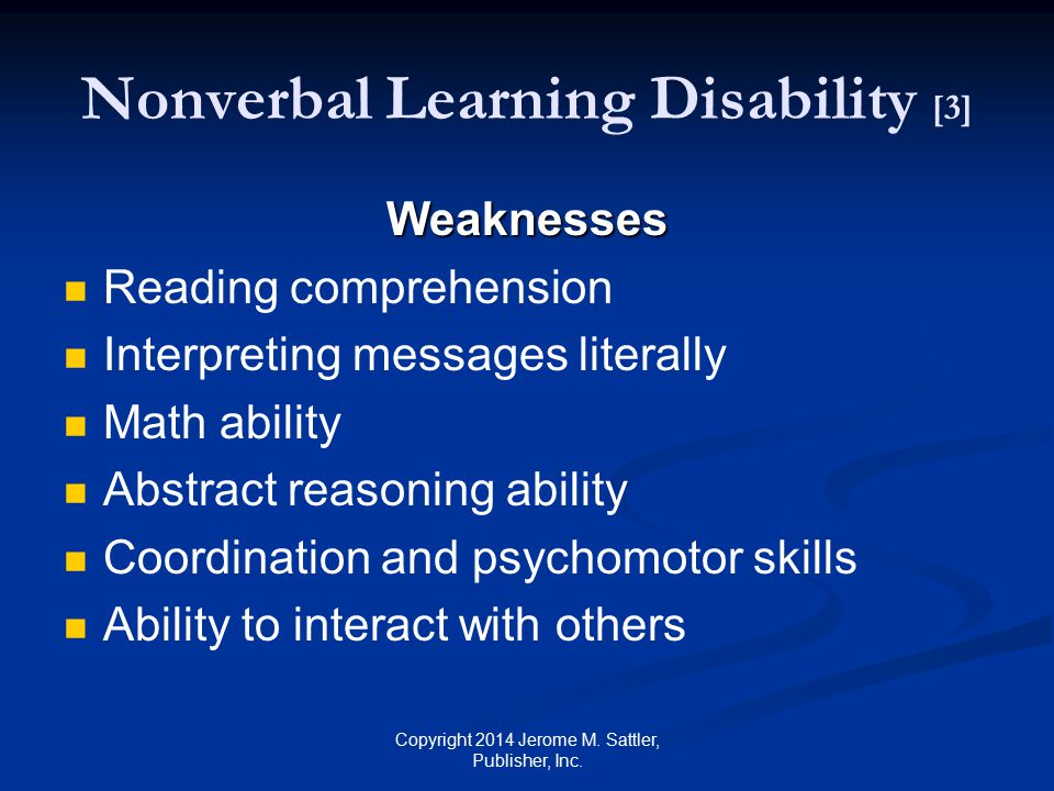 Nonverbal Learning Disability [3]